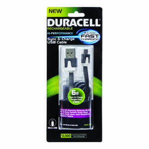 Duracell  6 ft. L Micro USB Phone Charger  1 pk