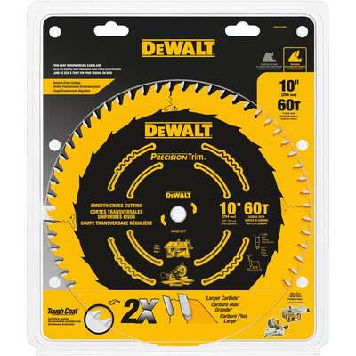 DeWalt Precision Trim 10 in. Dia. x 5/8 in. Carbide Tipped Circular Saw Blade 60 teeth 1 pk