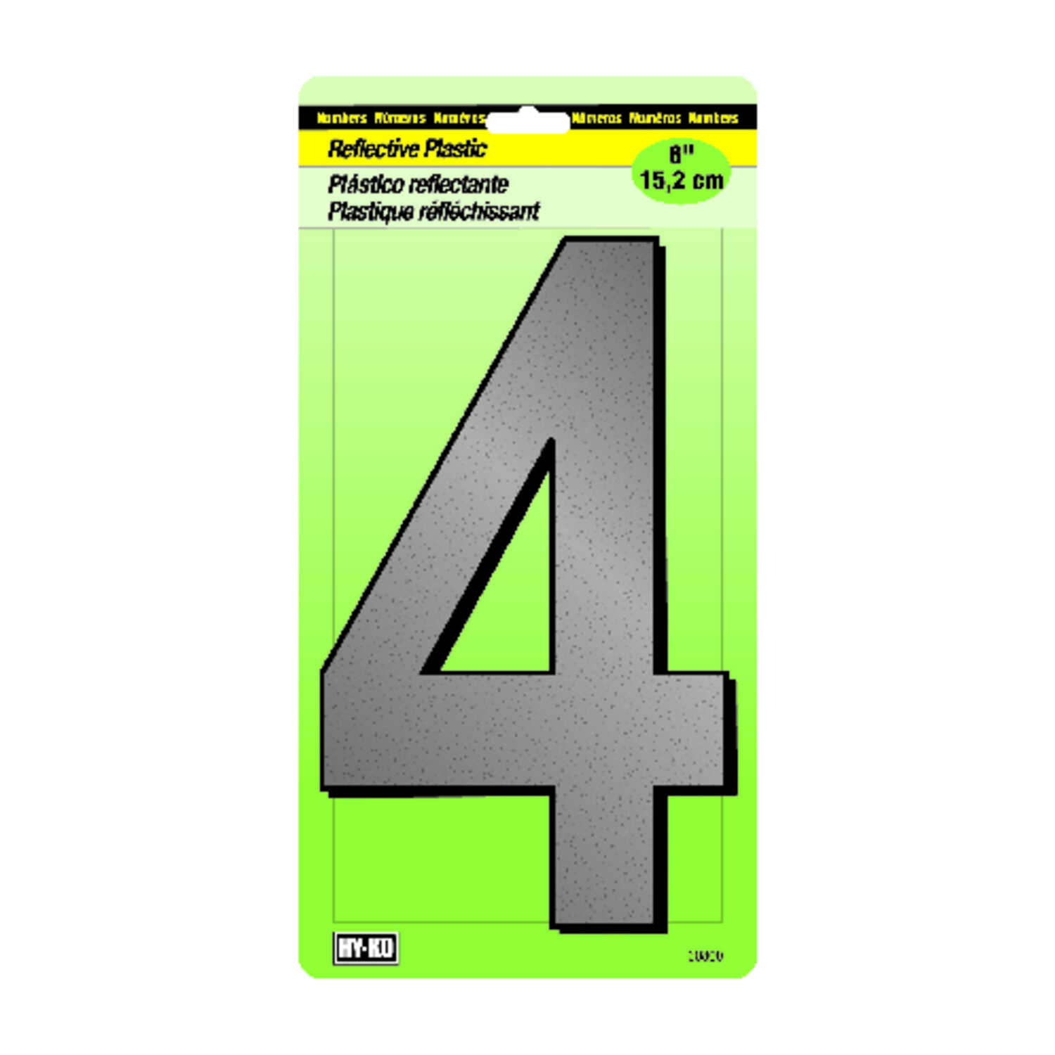 Hy-Ko  6 in. Reflective Black  Plastic  Number  Self-Adhesive  4
