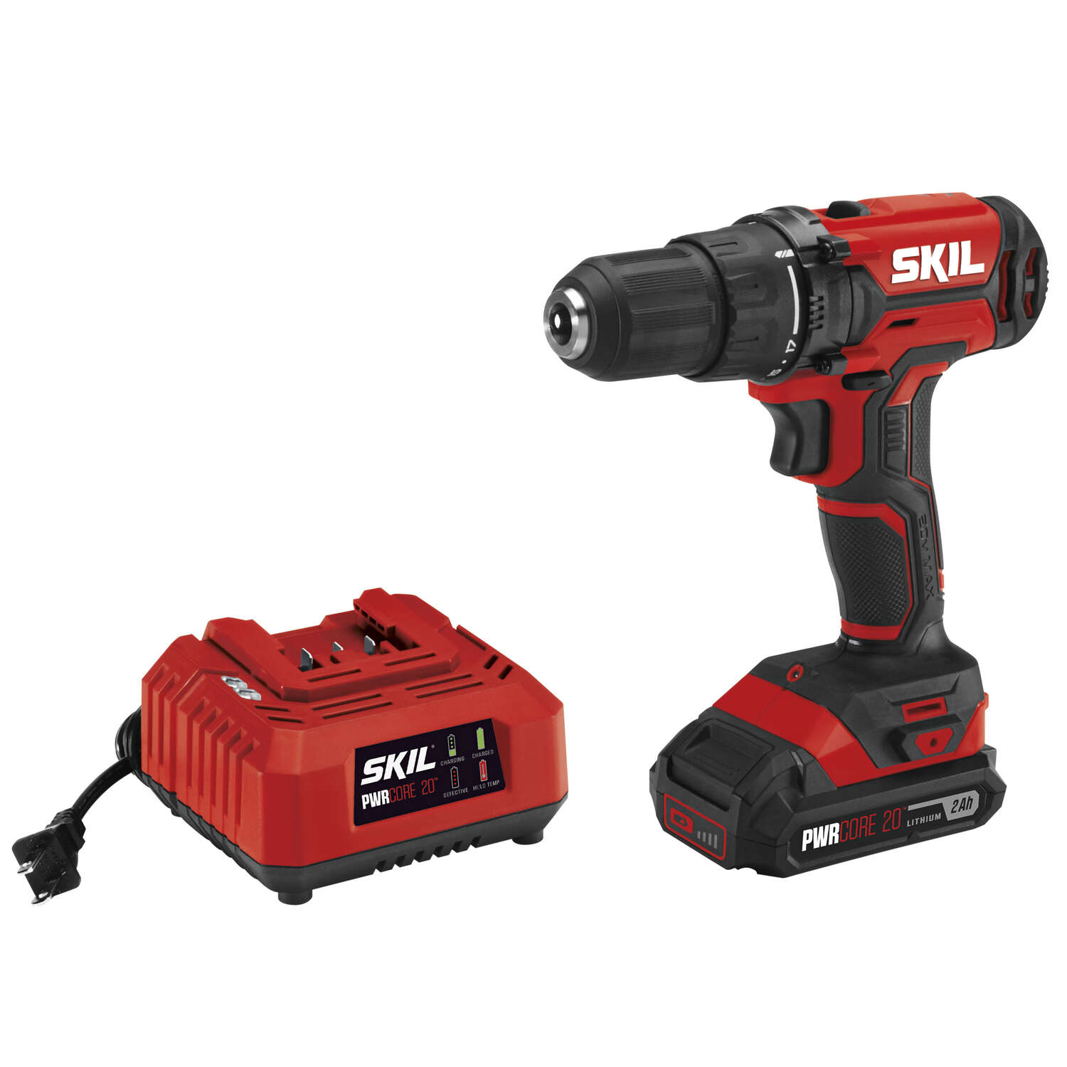 Skil  20 volt 1/2 in. Brushed  Cordless Drill Driver  Kit (Battery & Charger)
