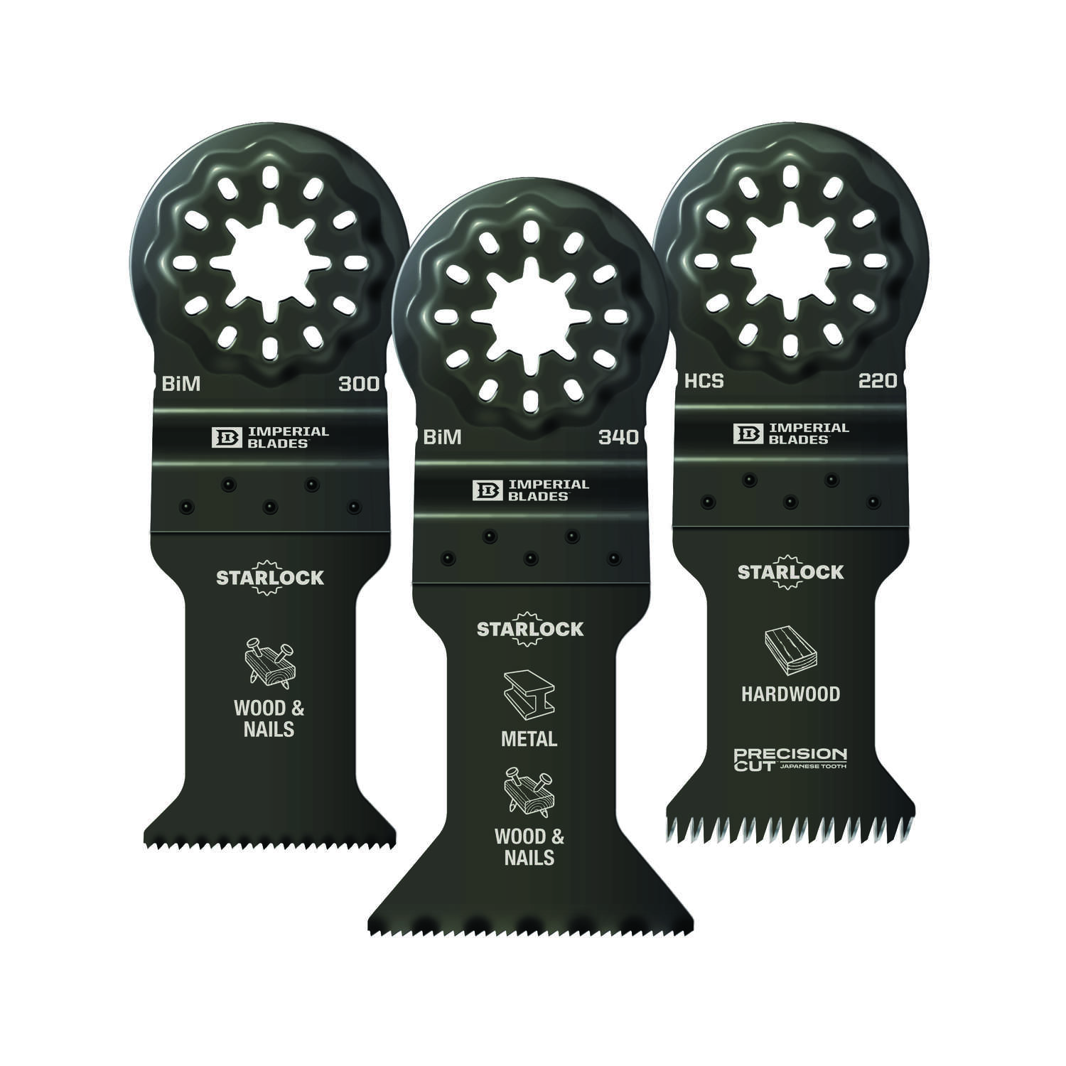 Imperial Blades  Starlock  Bi-Metal  All-Purpose  Oscillating Blade Set  3 pc.