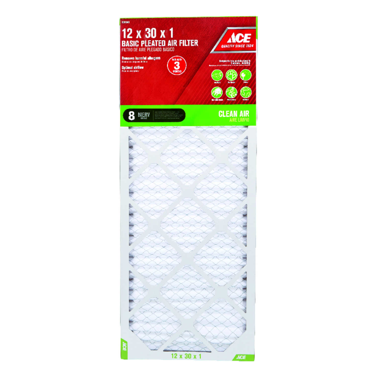 Ace  12 in. W x 30 in. H x 1 in. D 8 MERV Pleated Air Filter