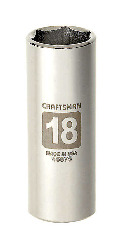 Craftsman  18 mm  x 3/8 in. drive  Metric  6 Point Deep  Socket  1 pc.