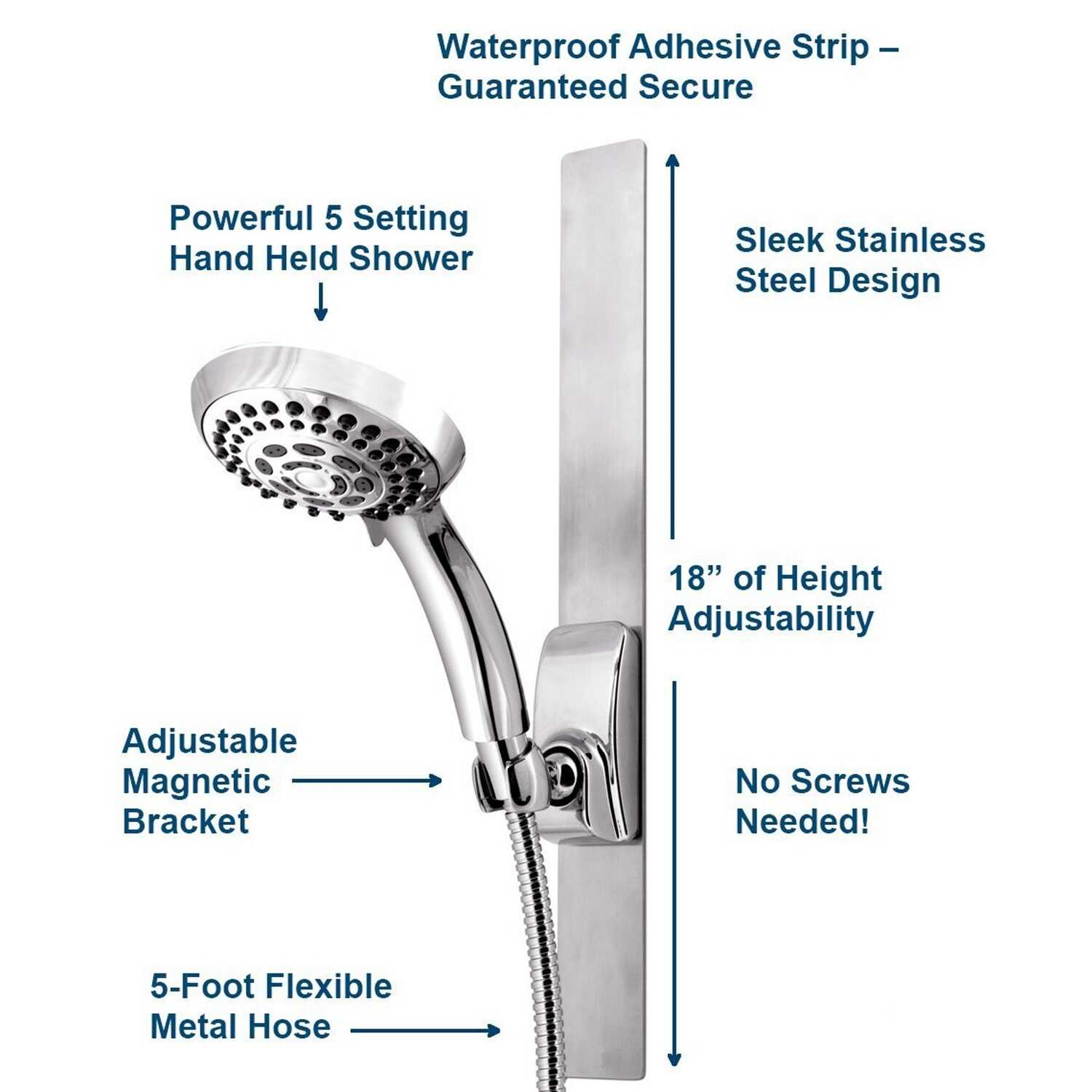 Waterpik  Chrome  Five settings Showerhead With Slide Bar  2.5 gpm