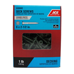 Ace  No. 8   x 2-1/2 in. L Dual  Flat Head Ceramic Coated  Premium Deck Screws  1 lb. 110 pk