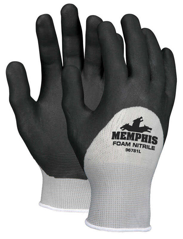 MCR Safety  Unisex  Nitrile  Dipped  Gloves  Black  XL