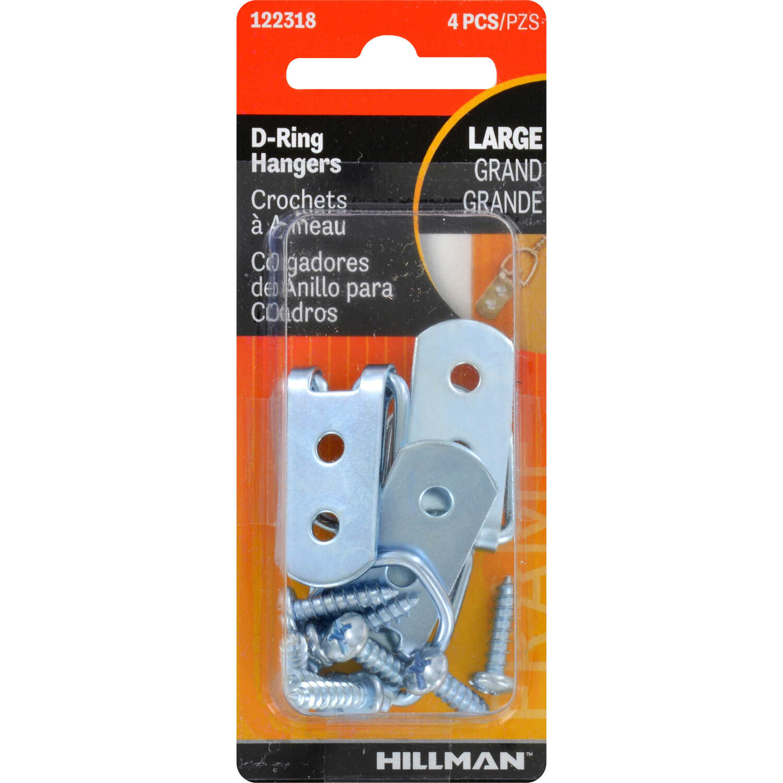 Hillman Silver Steel D-Ring Hanger 15 lb  4 pk Large - Ace