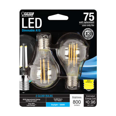 Feit Electric  A15  E17 (Intermediate)  Filament LED Bulb  Daylight  75 Watt Equivalence 2 pk