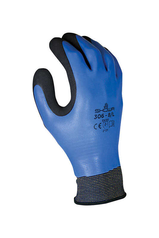 Showa  Unisex  Indoor/Outdoor  Rubber  Water Resistant  Work Gloves  Black/Blue  L