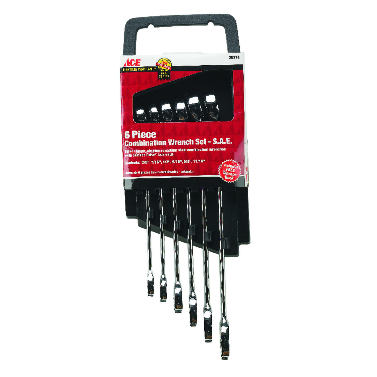 Ace  Multiple   x 8.8 in. L SAE  Wrench Set  6 pc.