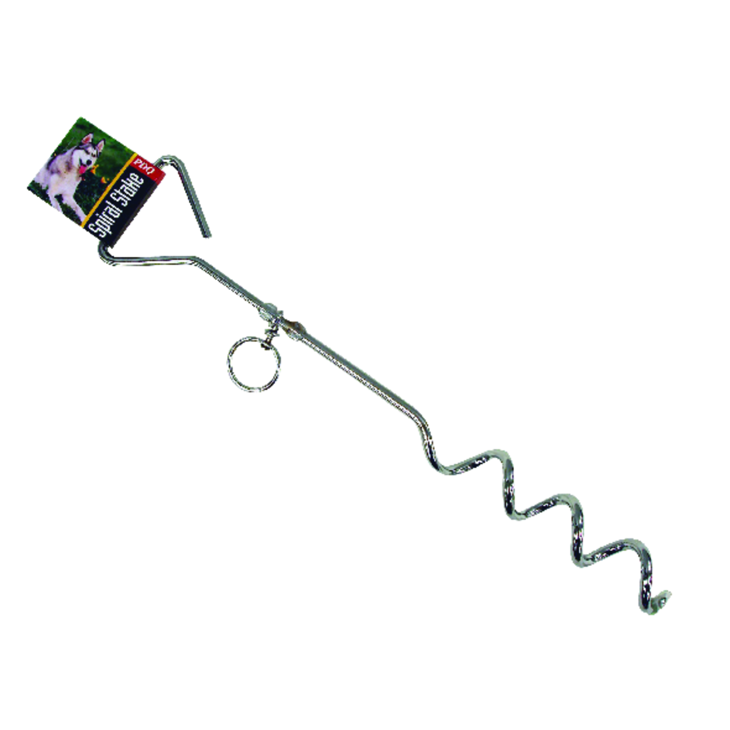 PDQ  Boss Pet  Silver  Spiral Tie Out Stake  Steel  Dog  Tie Out Stake  Large