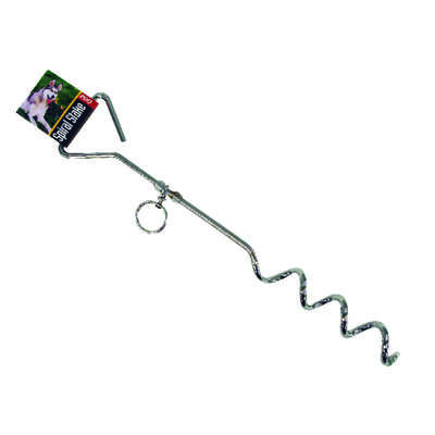 PDQ  Boss Pet  Silver  Steel  Dog  Tie Out Stake  Large