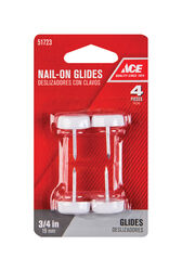 Ace  White  0.75 in. Nail-On  Nylon/Plastic  Chair Glide  4 pk