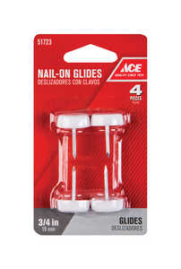 Ace  Nylon/Plastic  0.75 in. 3/4 in. W Chair Glide  Nail On  4