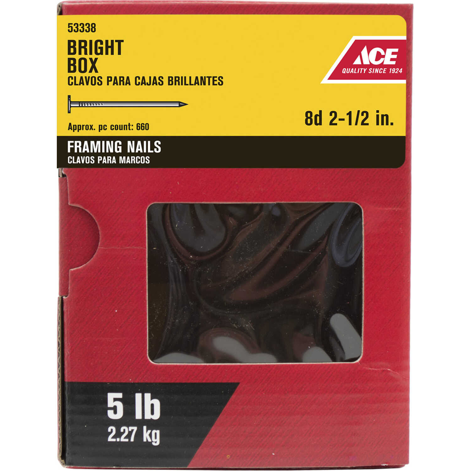 Ace  8D  2-1/2 in. L Box  Bright  Steel  Nail  Smooth Shank  Flat  5 lb.