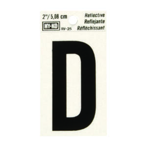 Hy-Ko  2 in. Reflective Black  Vinyl  Letter  D  Self-Adhesive  1 pc.