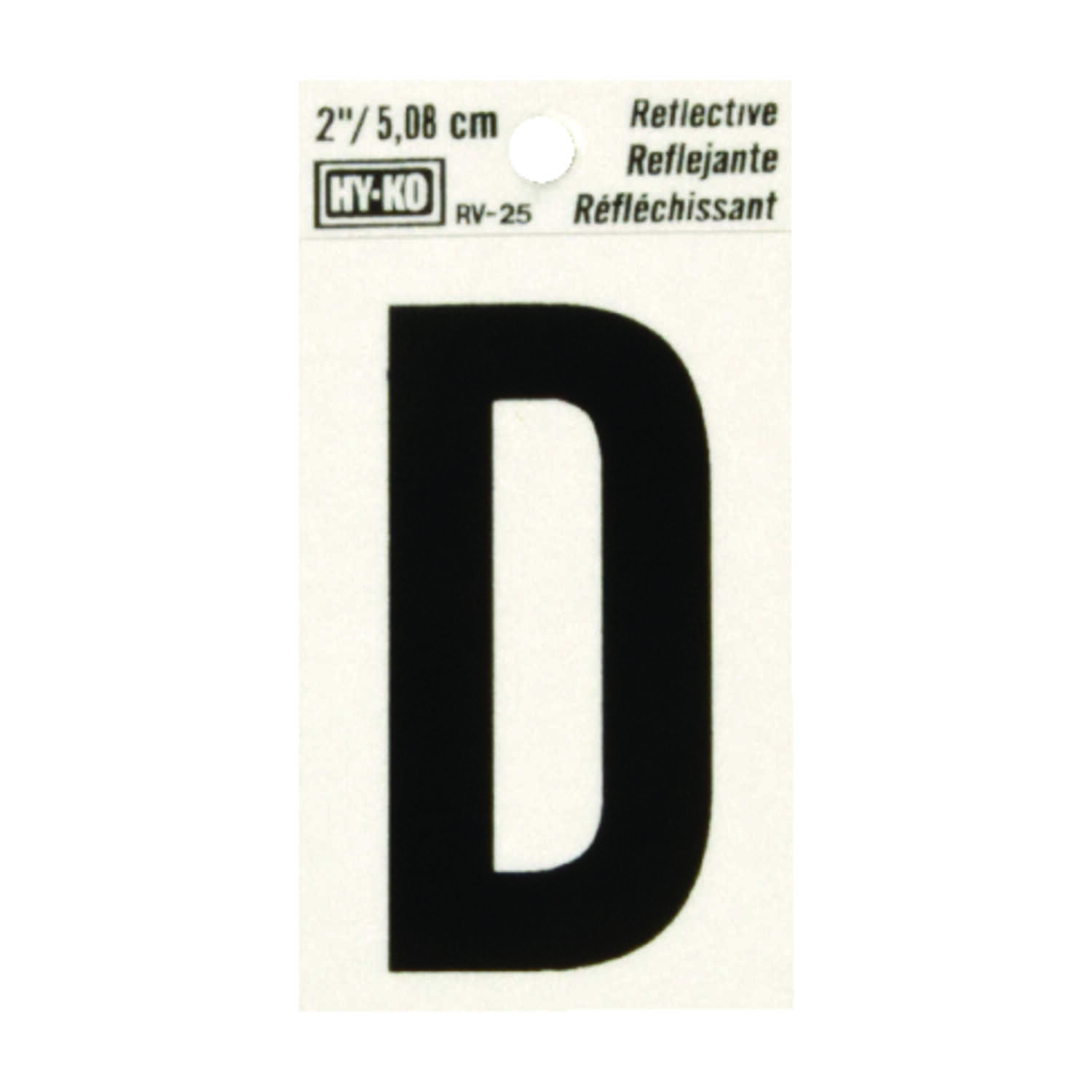 Hy-Ko  2 in. Reflective Vinyl  Black  D  Letter  Self-Adhesive