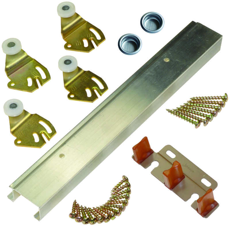 Johnson Hardware  Brass-Plated  Silver  Aluminum  By-Pass Door Hardware Set  1 pk