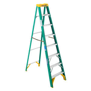 Werner  8 ft. H x 25 in. W Fiberglass  Type II  225 lb. capacity Step Ladder