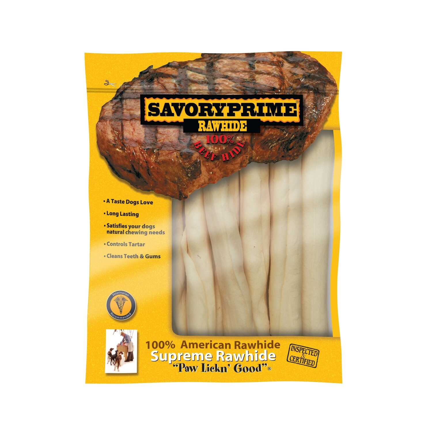 Savory Prime  All Size Dogs  Adult  Rawhide Bone  Natural  10-11  L 7 pk
