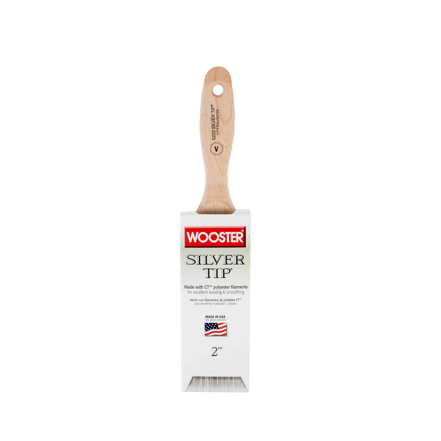 Wooster  Silver Tip  Flat  Polyester Blend  Paint Brush  2 in. W