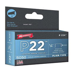 Arrow Fastener  P22  7/16 in. W x 1/4 in. L 24 Ga. Medium Crown  Staples  5050 pk