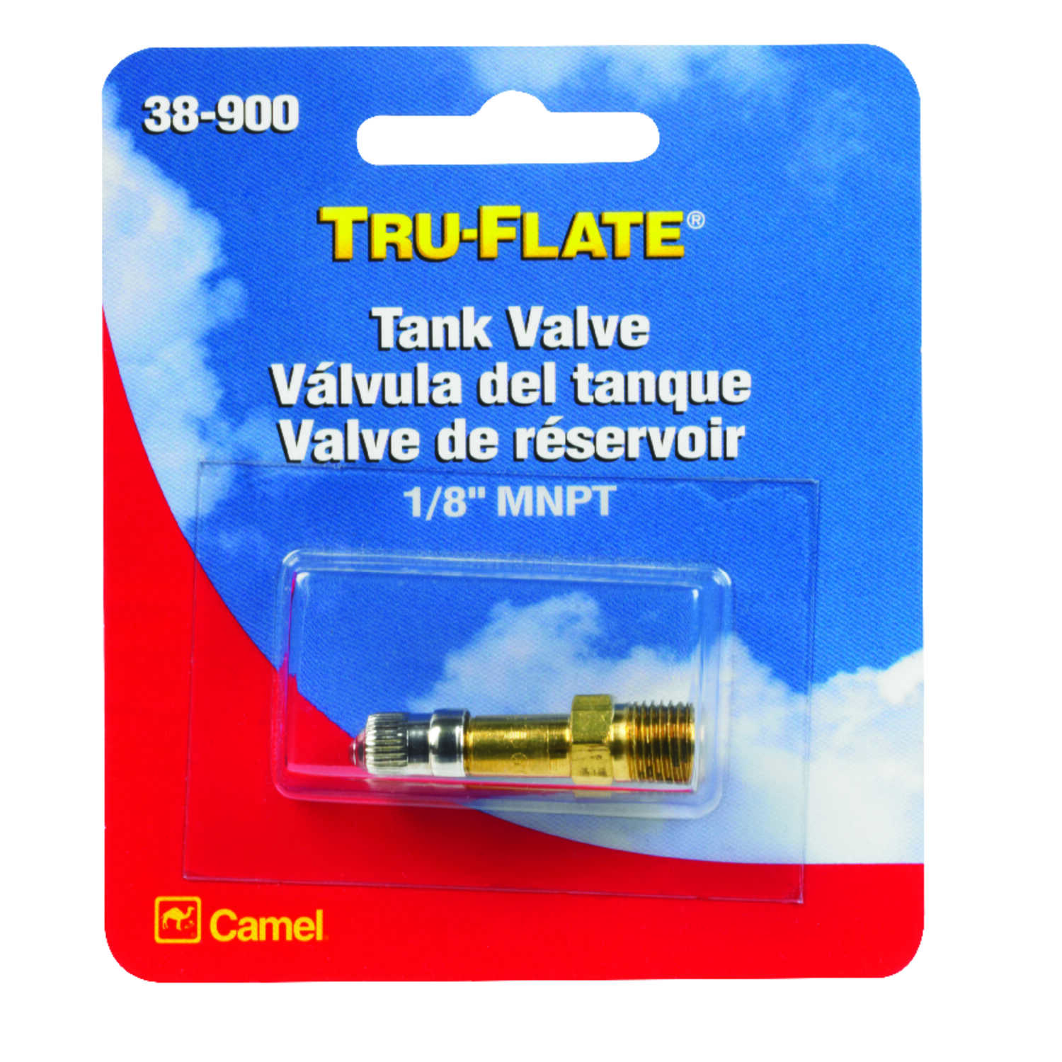 Tru-Flate  Brass  Tank Valve  1/8 in. Male  1 pc.