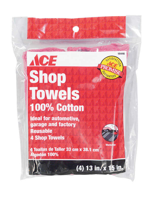 Ace  Cotton  Shop Towels  15 in. W x 13 in. L 4 pk
