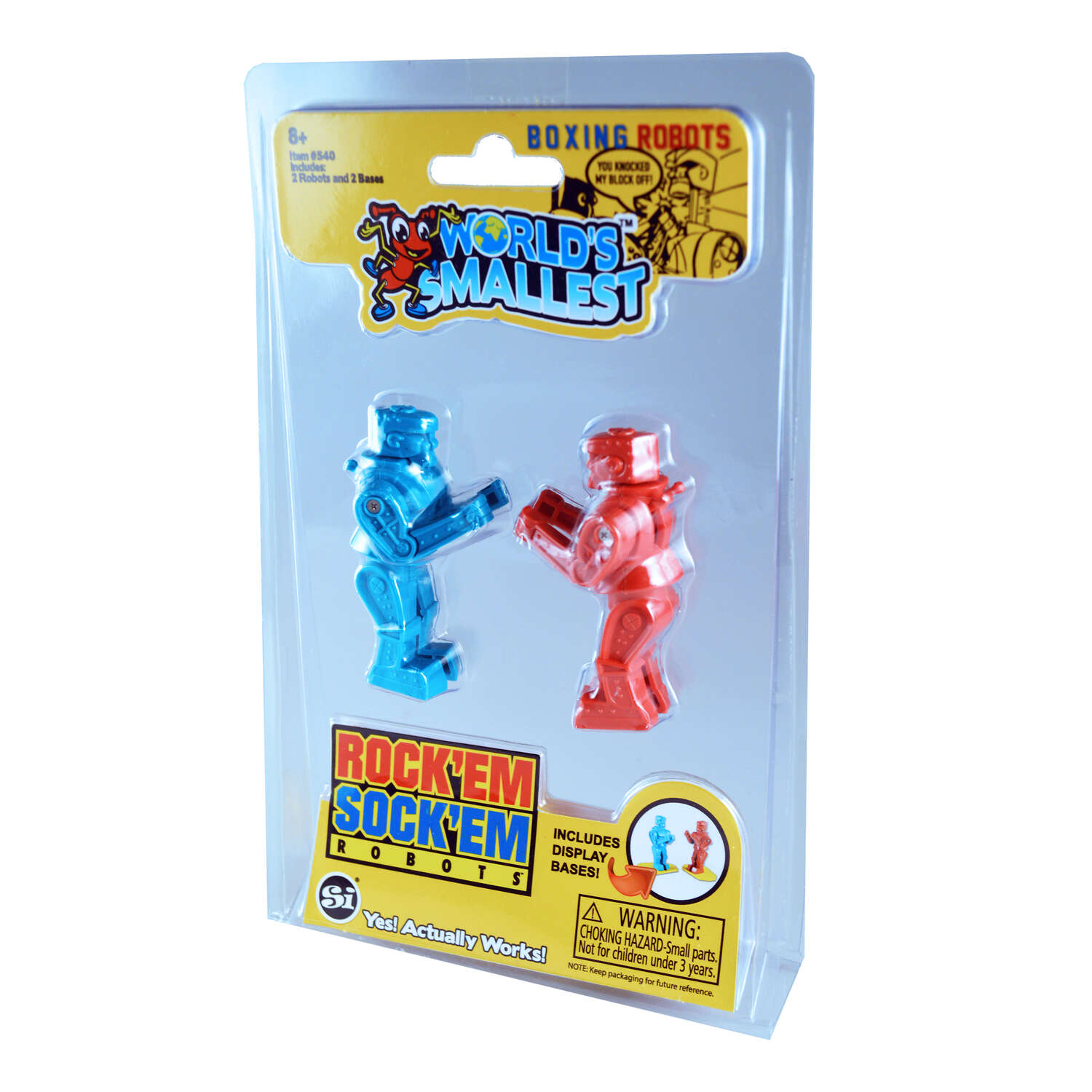 Super Impulse  World's Smallest  Rock'em Sock'em Robots  Plastic  Red and Blue  4 pc.