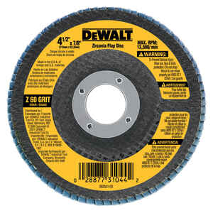 DeWalt  4-1/2 in. Dia. x 7/8 in.   Zirconia  Flap Disc  60 Grit Medium  13300  1 pc.