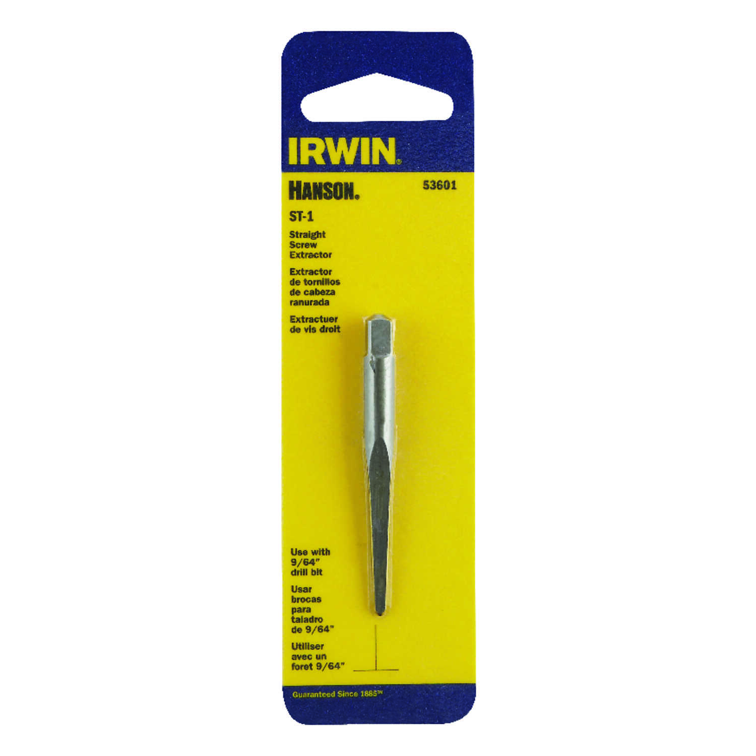 Irwin  Hanson  9/64 in.  x 9/64 in. Dia. Carbon Steel  Straight Screw Extractor  5.4 in. 1 pc.