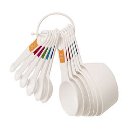 Lifetime Brands Farberware Plastic White Measuring Spoon and Cup Set
