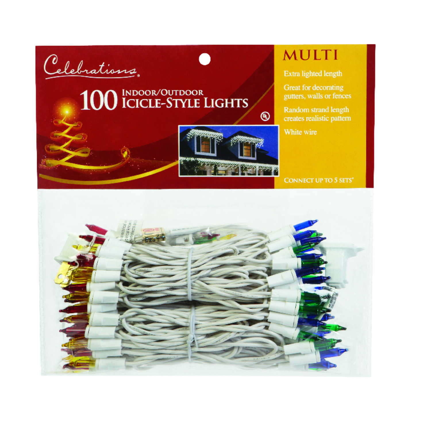 Celebrations  Incandescent  Icicle  Light Set  Multicolored  8.5  100 lights