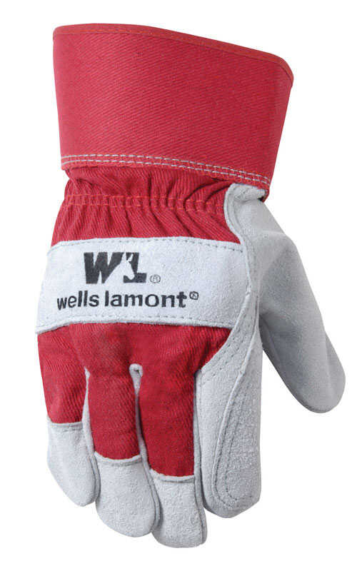 Wells Lamont  Universal  Cowhide Leather  Palm  Work Gloves  Red  L  1 pair