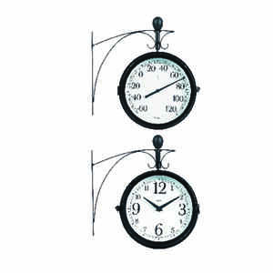 Springfield  Decorative  Clock/Thermometer  Steel  Black