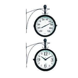 Springfield  Decorative  Clock/Thermometer  Metal/Steel  Metallic Black