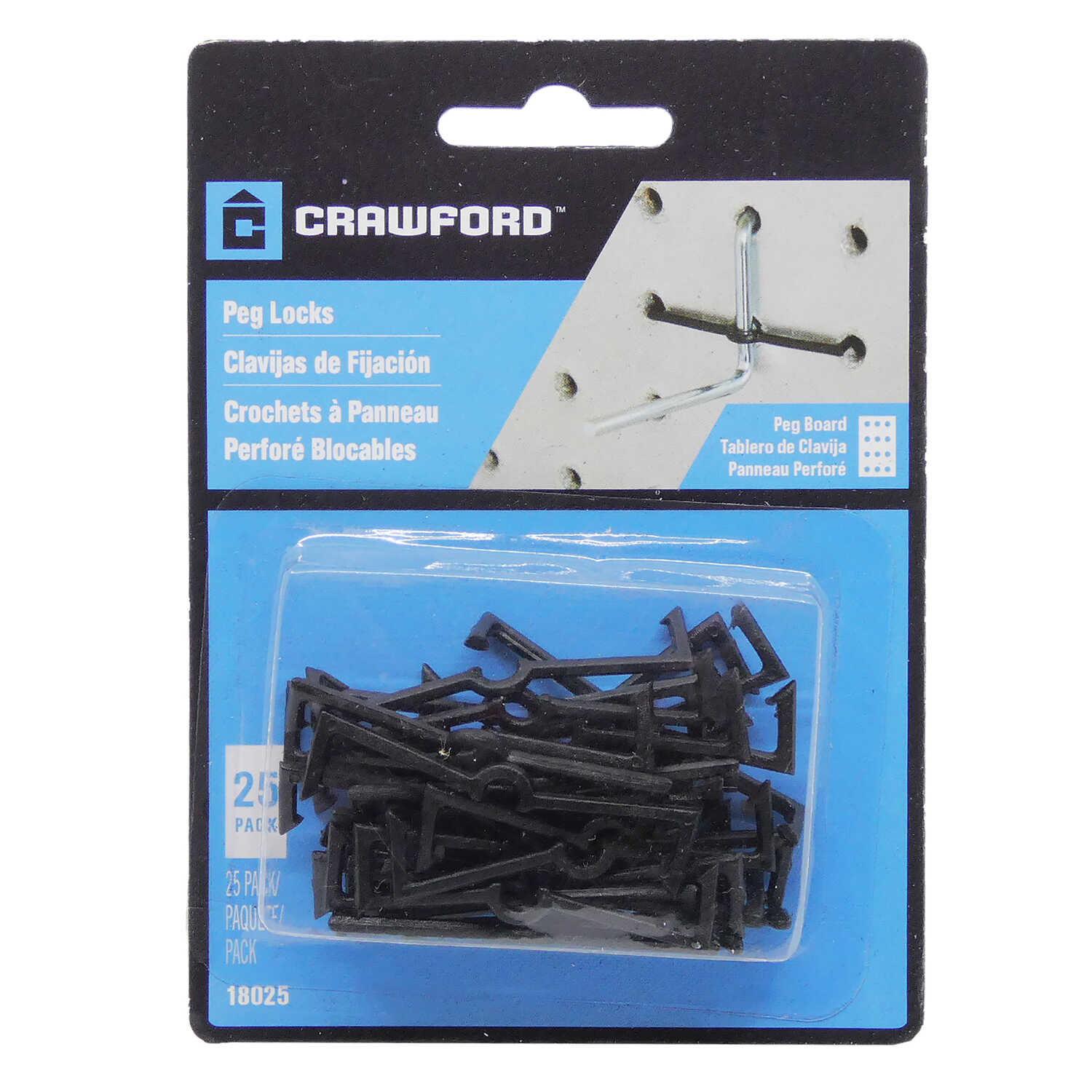 Crawford  Zinc Plated  Black  Plastic  0.05 in. Peg Hook Locks  25 pk