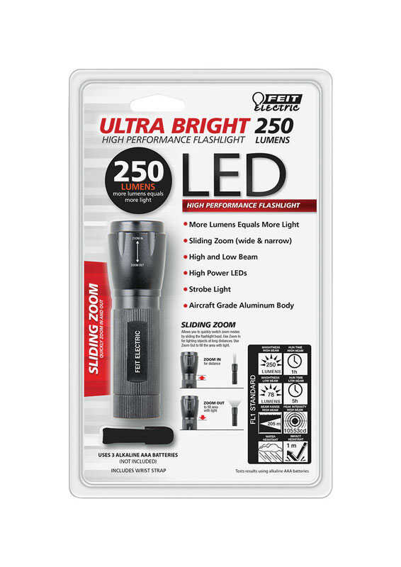 FEIT Electric  Ultra Bright  250 lumens Black  LED  Flashlight  AAA Battery