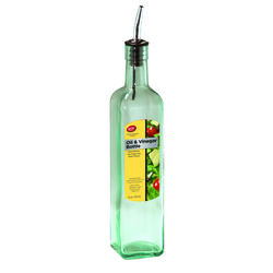 Tablecraft  Clear  Glass/Steel  Oil and Vinegar Bottle w/Pourer