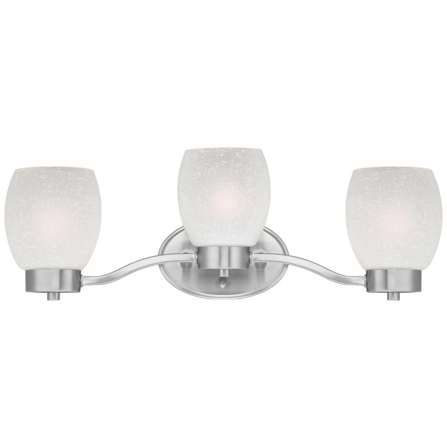 Westinghouse  Brushed Nickel  White  3 lights Wall Sconce