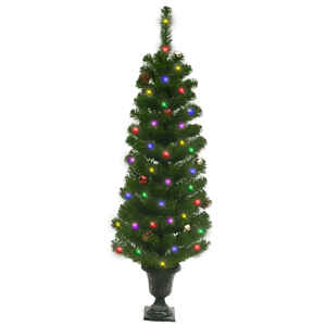 Celebrations Home  4 ft. Multicolored  Prelit Potted Douglas Fir  Artificial Tree  35 lights