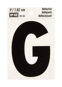 Hy-Ko  3 in. Reflective Black  Vinyl  Letter  G  Self-Adhesive  1 pc.