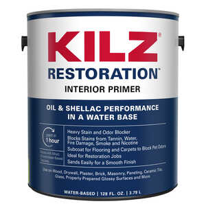Kilz  Max  White  Water-Based  Primer and Sealer  1 gal. For Brick, Ceramic, Tile, Painted Metal, Gl