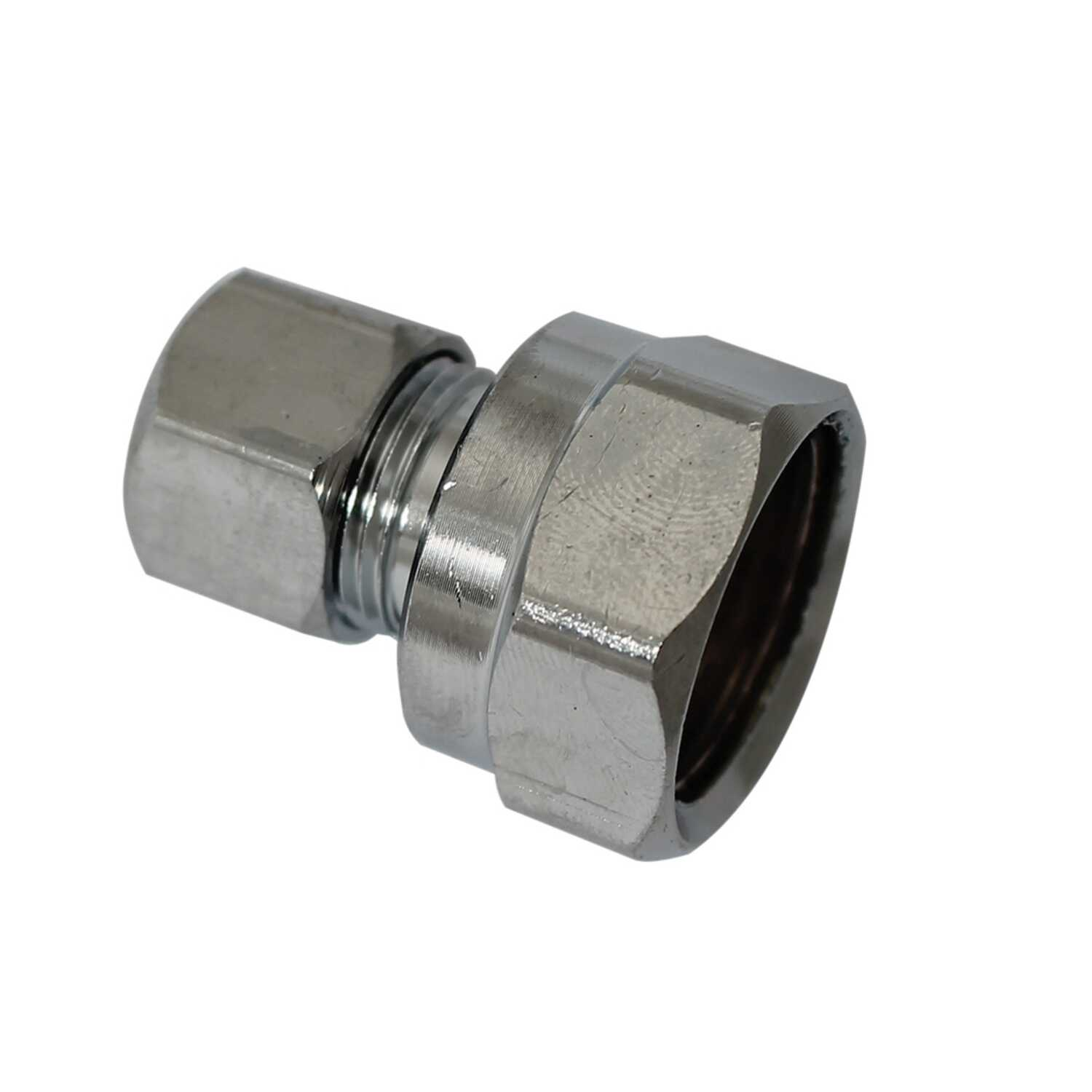 Plumb Pak  1/2 in. FIP   x 3/8 in. Dia. Compression  Chrome  Straight Connector
