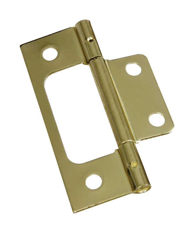 National Hardware  3 in. L Brass-Plated  Brass  Door Hinge  2 pk