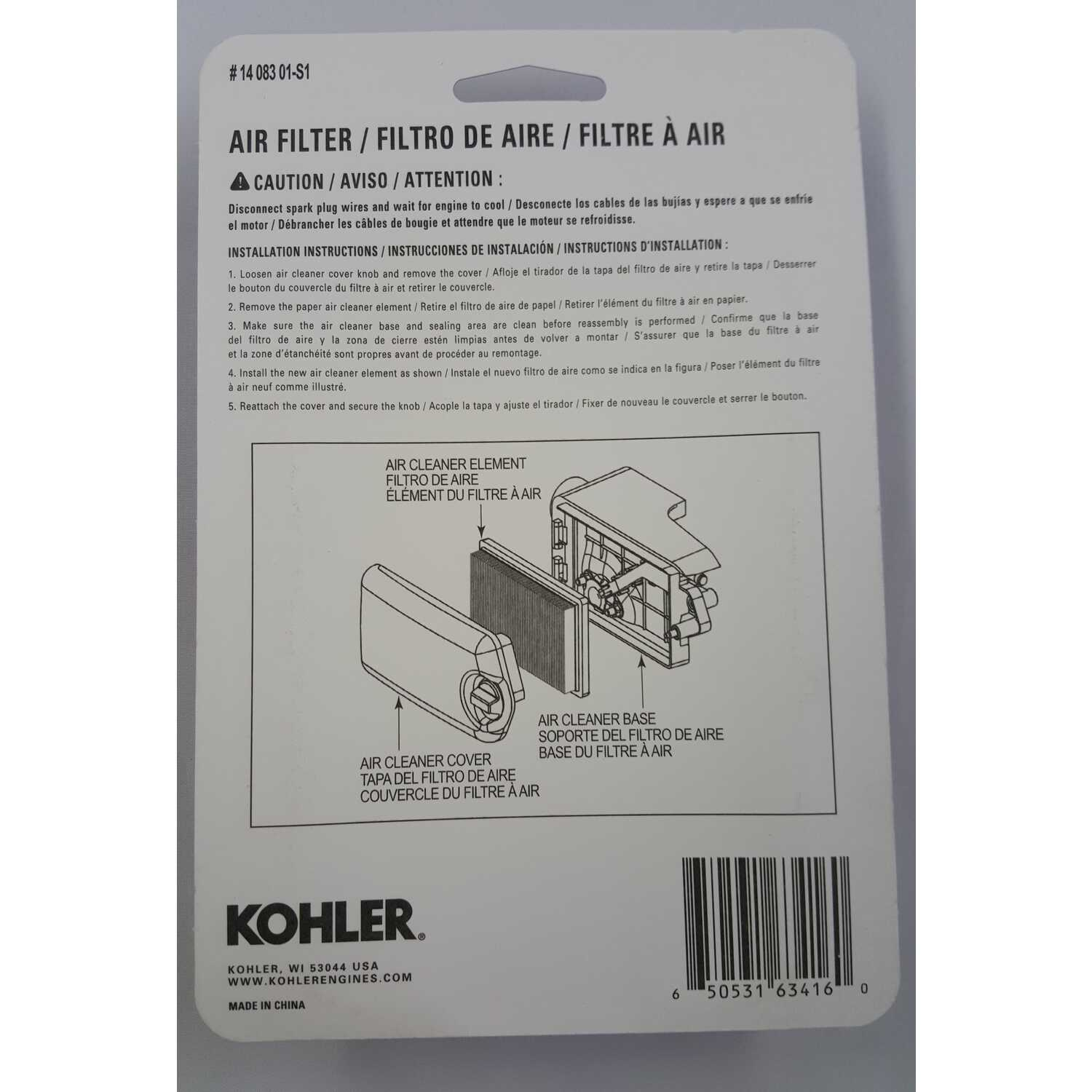 Kohler Small Engine Air Filter For Courage XT6-8 - Ace Hardware