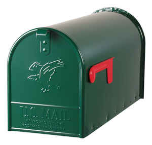 Gibraltar Mailboxes  Elite  Galvanized Steel  Post Mounted  Hartford Green  Mailbox  10-1/2 in. H x