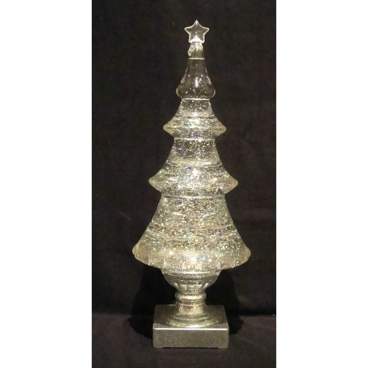Roman  LED Swirl Tree  Christmas Figurine  1 pk Clear  Plastic