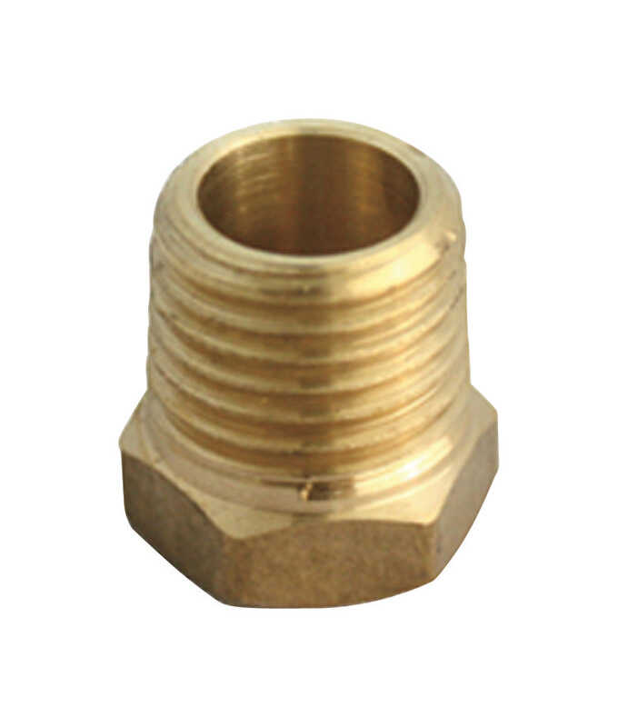 JMF  1 in. Dia. x 1/4 in. Dia. MPT To FPT  Yellow Brass  Hex Bushing