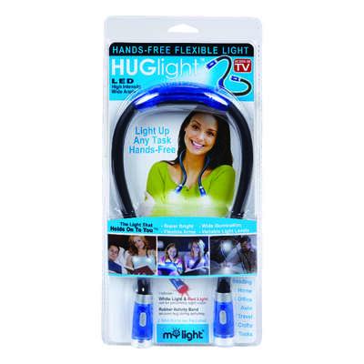 Hug Light  As Seen On TV  120 lumens Blue  LED  Flexible Flashlight  AAA Battery